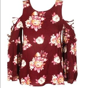 Hippie Rose Berry Floral Lace Up Sleeve Blouse